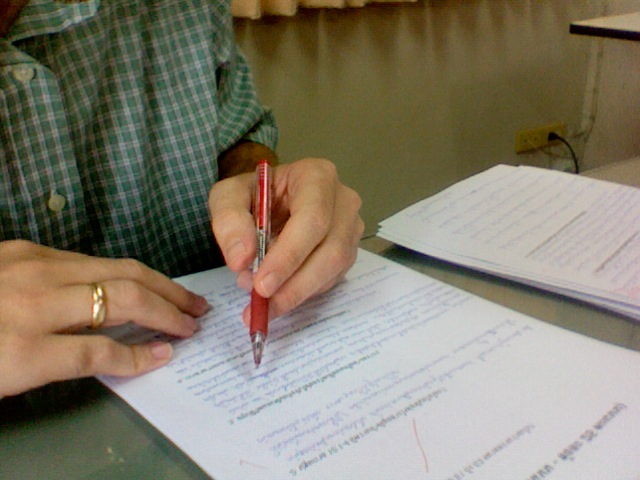 Grading exams at Bangkok Bible Seminary