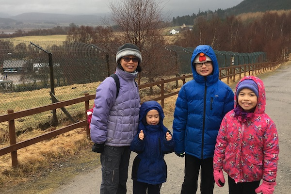braving the weather at Highlands Wildlife Park, Aviemore, Scotland
